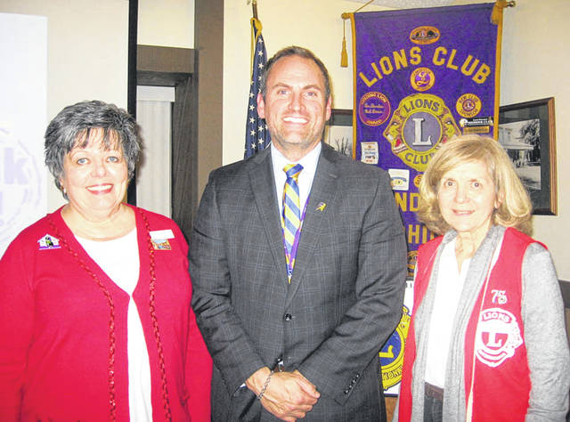 Lion President Sharon Rose (left) stands with Vandalia-Butler City Schools Superintendent Robert O'Leary, and Lions Program Chairperson Dee Smith.