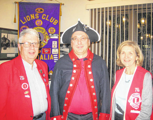 Pictured left to right are Lions Immediate Past President Ted Sheline, Steve Kaplan, and Lion Program Chair Dee Smith.