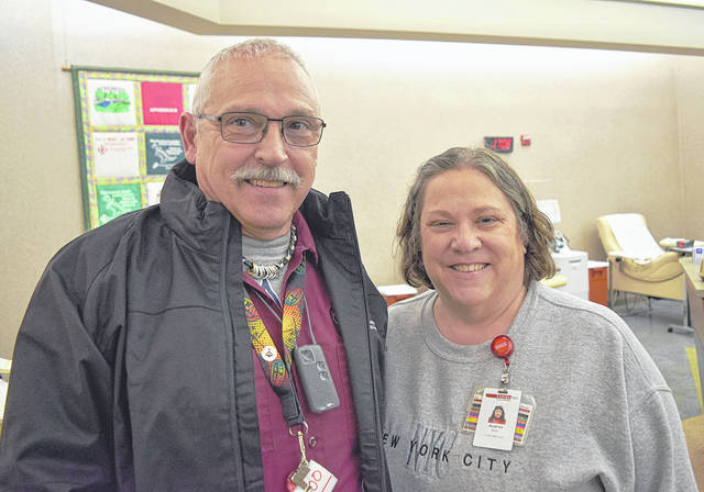 Randy West, pictured with his wife Audrey, recently made his 100th lifetime blood donation.