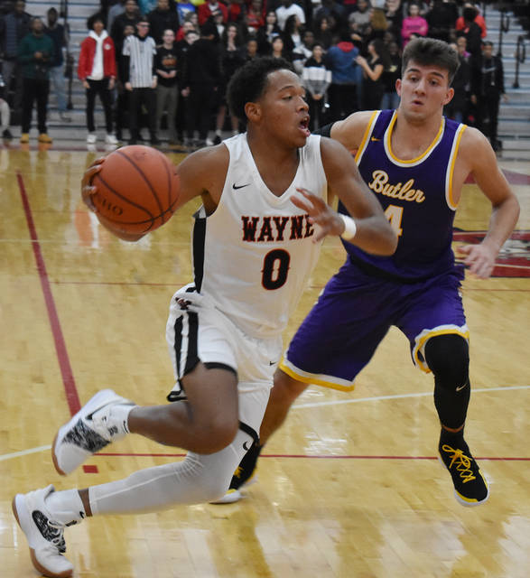 Rashad McKee drives to the basket during Butler's 46-45 win over Wayne on Tuesday.