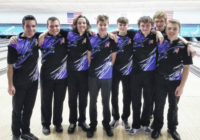 The Butler boys bowling team competed at the 15th annual Ohio High School State Invitational Kick-Off Tournament in Columbus last week. Pictured left to right are Kyle Seelbaugh, Aaron Seelbaugh, Drew Sacks, Ian Jacobs, Will Yeary, Zach Luttrell, Jake Smith, and Ben French.