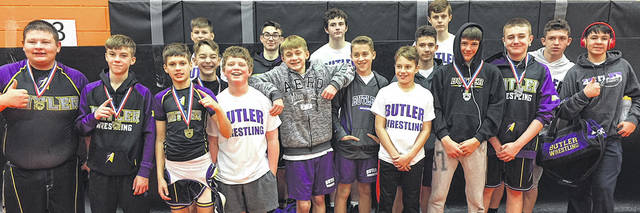 The Morton Middle School wrestling team traveled to Beavercreek on Saturday. Pictured front row, left to right, Zack Back, Noah Moreland, Parker Lee, Tyler Rosengarten, Caden Dando, Jacob Brech, Derek Hobbs, Cayden Borchers, Tyler Pennington and Jackson Updike; back row, left to right, Jack Hoskins, Cooper Bear, Ryan Scammahorn, Cody Schields, Craig Grenier, and Austin Prince.