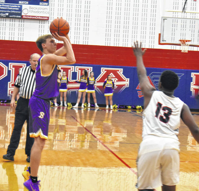 Court Justice takes a three-pointer versus Piqua Friday night in the season opener for both teams.