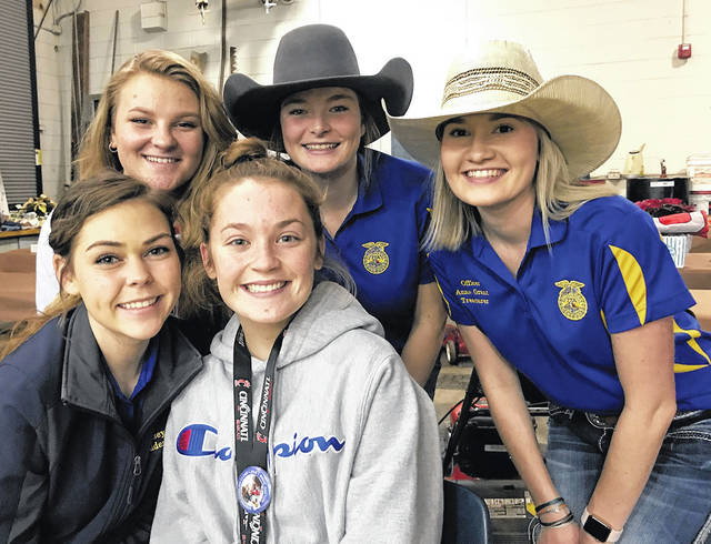 The MVCTC FFA raised over $8,500 during the 38th Annual Charity Auction for the Ronald McDonald House Charities of Dayton. Pictured left to right are MVCTC FFA members working at the event – Back row – Sydnee Brush (Vandalia), Lexi Stiner (National Trail), Anna Grant (Valley View). Front Row – Kasey Lawson (Wayne) and Preston Lipinski (Tri-County North).