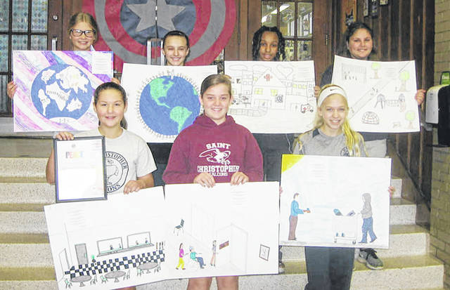 Pictured are the winners and honorable mention winners in the Lions Club International Peace Poster Contest held at St. Christopher School in Vandalia. Pictured left to right are first place winner Natalie Trimbach, second place winners Lily Kandel and Sylvie Mattice, honorable mention winners Brooke Stueve, Madison Richardson, Nina Sutherland, and Cate Hartley.