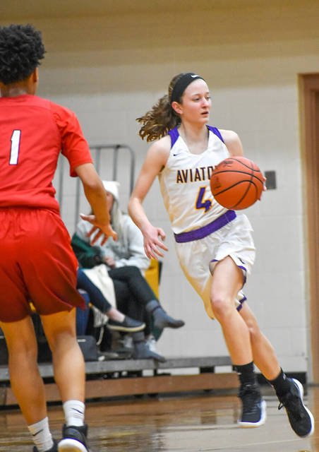 Abbie Schoenherr brings the ball up court during Butler's 34-28 loss to Trotwood-Madison.