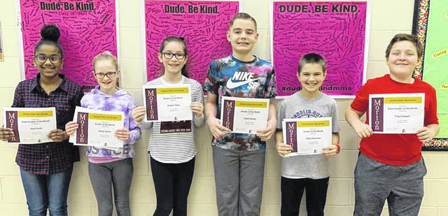 Congratulations to the Morton Middle School Sixth Grade Aviators of the Month for December. Pictured left to right are Noel Smith, Grace Weber, Aubrey Clark, Caleb Hickey, Gavin Donovan, and Trace Crouch.
