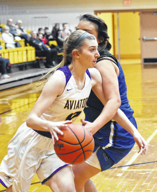 Ella Neely drives baseline during Butler's 64-28 win over Xenia on Friday.