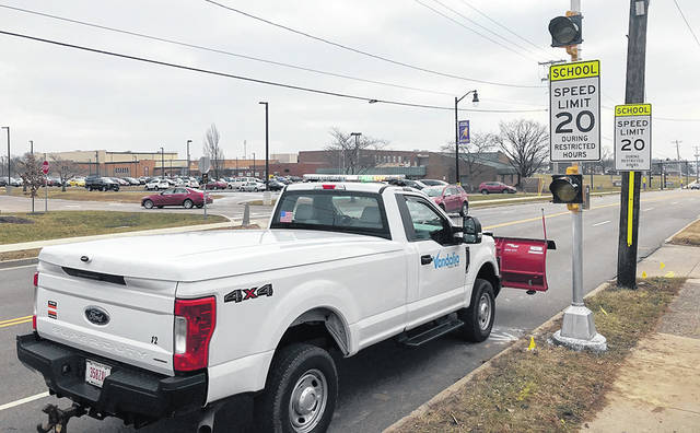The City of Vandalia recently installed flashing school zone lights on Dixie Drive where it passes by Butler High School. Previously there were only signs that said the school zone speed limit was 20 miles per hour during restricted hours. The flashing lights will be activated during those restricted hours remind drivers to slow down.