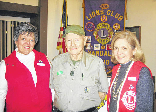 Pictured left to right are Lions Club President Sharon Rose, Gordon Patty, and Lions Program Chair Dee Smith.