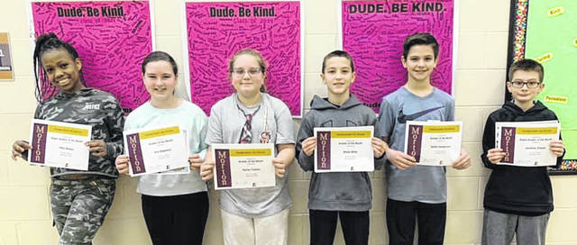 Congratulations to the Morton Middle School Sixth Grade Aviators of the Month for November. Pictured left to right are Tiffni Wilson, Ava Stephens, Karisa Ticknor, Brody Miller, Kellen Vandervort, and Jonathan Zirpola.