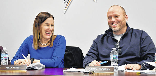 Holly Herbst (left) was elected President of the Vandalia-Butler Board of Education and Rodney Washburn, right, was elected Vice President during the Board's organizational meeting on Monday, January 14.