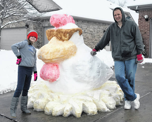 The Miami Valley received its largest snowfall since 2013 last weekend and Vandalia residents Ken Bedel and his daughter Kyla turned the heavy, wet snow into one cool turkey. With colder temperatures predicted for next week, this turkey may be sticking around for a while.
