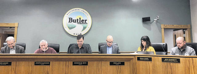 The Butler Township Trustees held their final meeting of 2018 last Thursday evening. Pictured left to right are Fiscal Officer Mark Adams, Trustees Joe Flanagan, Ken Betz, and Mike Lang, Township Administrator Erika Vogel, and Service Department Director Jeff Barnett.