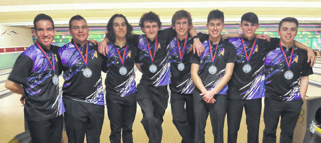 The Butler boys bowling team was fifth at the sectional tournament on Thursday and advanced to District as a team. Pictured left to right are Kyle Seelbaugh, Aaron Seelbaugh, Drew Sacks, Zach Luttrell, Jake Smith, Ian Jacobs, Will Yeary, and Ben French.