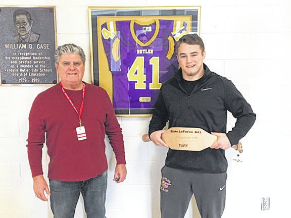 "Butler senior Nick Coyle is this year's recipient of the Blake Laforce TUFF Award named after Blake LaForce, a Butler High School student athlete who lost his battle with complications of Leukemia. The TUFF Award is presented annually to a football player who demonstrates those ""winning qualities"": character, leadership, toughness, hard work, determination, tenacity, and courage. Coyle was an All-GWOC player in football and recently signed a National Letter of Intent to play football at Georgetown (KY) College."