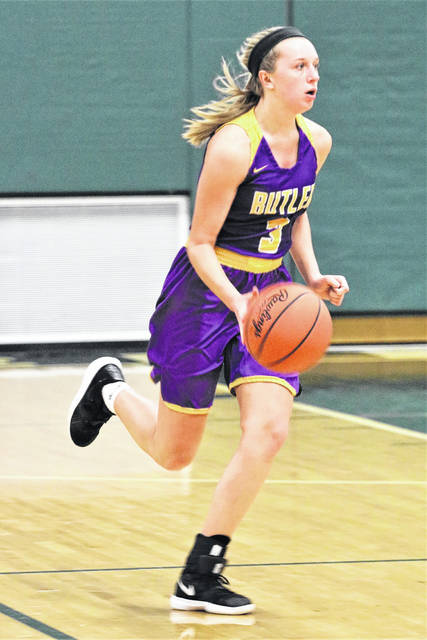 Butler's Jacie Dalton brings the ball up court during the Aviators win ocsd Greenville.