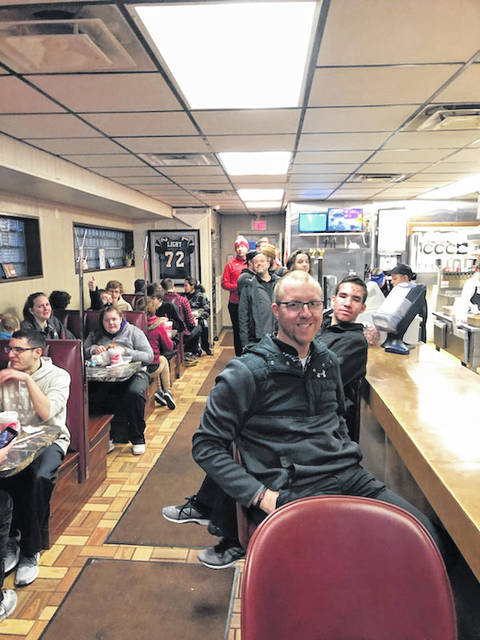 The Butler bowling teams celebrated a sweep over Greenville on Tuesday with a visit to the famous Maid-Rite Sandwich Shoppe.