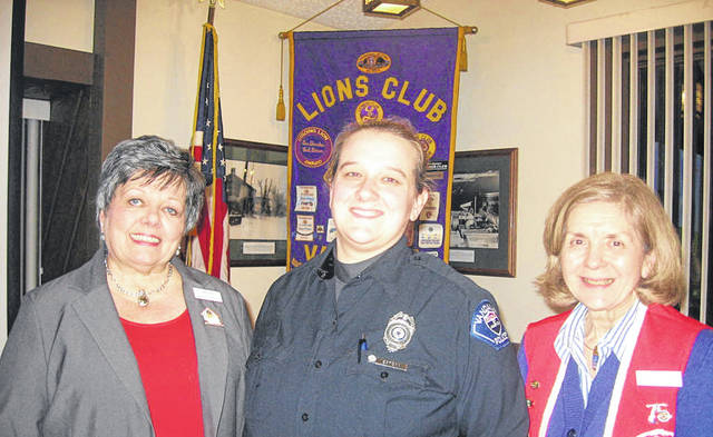 Pictured left to right are Lion President Sharon Rose, Officer Holly Estepp, and Lion Program Chair Dee Smith.