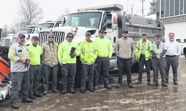 The Vandalia City Manager's office offered thanks to employees in the city's Public Works department that have worked countless hours over the past month plowing snow, salting roadays, and repairing water mains. Pictured left to right are Bill Miles, Jake Hayslett, Don Whitaker, Jamey Stevenson, John Bubeck, Scott Gibbs, Jordan Feeser, Mike Busse, Dennis Edwards, Steve Nickels. Not pictured are Joe Blosser, Mark Blosser, DeWayne Hopping, Zeb Ward, Randy Ellish, Josh Woss, and Rick Wegley.