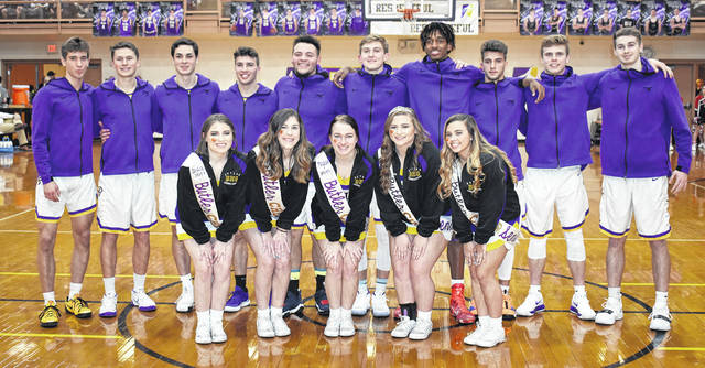 The Butler boys basketball team and cheerleading squad honored seniors before Friday's game versus Tippecanoe. Pictured front row, left to right, are Caroline Leiter, Sydney Thomas, Meghan Stewart, Cheyenne Foor, and Kayli Paugh. Pictured in back row, left to right, are Michael Kreill, Nick Lobianco, Alex Plummer, Ryan Wertz, Quentin Glover, Spencer Imwalle, Bryant Johnson, Braedon Norman, John Droesch, and Blake Ross.