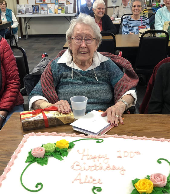 Members of the Vandalia Senior Center joined member Alice Bair in celebrating her 100th birthday on Monday afternoon. Bair is the first of thee centurion birthdays that will be celebrated at the Senior Center over the next month. Happy birthday Alice, and many more!