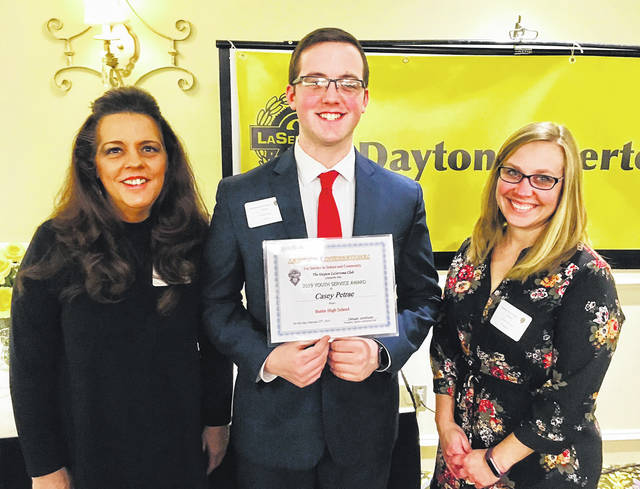 Butler High School student Casey Petrae, center, was recently the recipient of the Dayton LaSertoma Club's Youth Service Award.