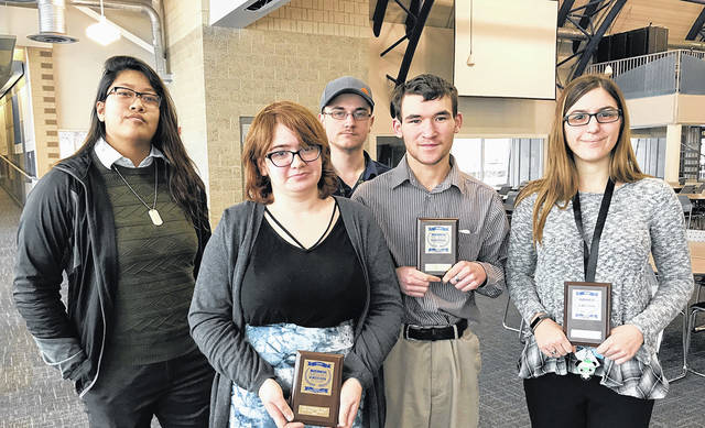 MVCTC Media and Video Production Juniors – left to right Amelia Cayabyab (Wayne), Samantha Haycook (Wayne), Brandon Rader (Milton-Union), Zachary Osborne (Northridge), Grace Ramsdell (New Lebanon).