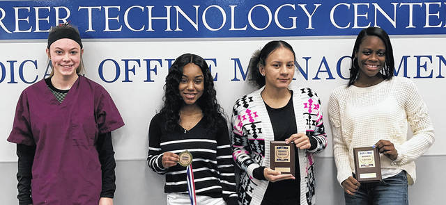 MVCTC Medical Office Management Juniors – left to right Victoria Meyers (Tri-Village), Kaylah Jones (Wayne), Starr Dudas (Vandalia-Butler), and Naliyah Washington (Wayne). Not pictured - Reva Lewis (Miamisburg) and Alayah Brigham (Trotwood).