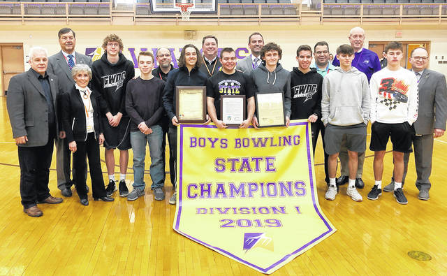 The Butler bowling team was honored at a pep rally on Monday where the team's state championshp and Drew Sacks' back to back individual championships were honored. Representatives from the City of Vandalia, Butler Township, and the Ohio House of Representatives were on hand to present the team with proclamations heralding their achievements.