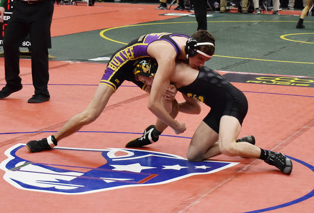 Josh Suddeth wrestled at 113 pounds at the 82nd Annual OHSAA State Wrestling Individual Tournament on Thursday, March 7.