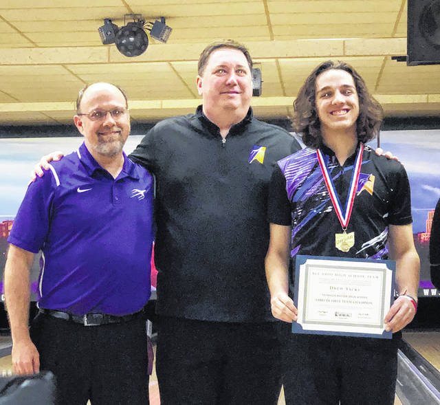 Butler bowler Drew Sacks (right) became the first bowler in Ohio High School Athletic Association history to post back-to-back individual bowling championships on Saturday at Wayne Webb's Columbus Bowl. He is pictured with head coach Steve Sacks and coach Jeff Rezabek.