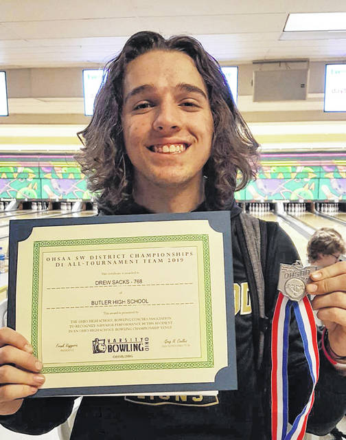 Butler bowler Drew Sacks, the defending OHSAA Individual State Champion, was second overall at the Southwest District bowling tournament on Wednesday. He and the Aviators will bowl in the state tournament for the third straight year on Saturday.
