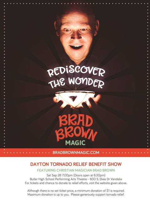 <strong>Brad Brown, an internationally known Christian magician, will be performing a benefit show to raise money for Dayton tornado relief efforts on Saturday, September 28 at 7 p.m. at the Butler High School Performing Arts Theatre in Vandalia. </strong>(Contributed photo)