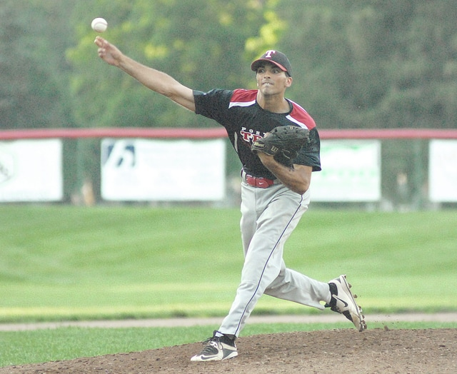 Anthony Weber/Troy Daily News file Troy Post 43's Trenton Wood pitches against Piqua Post 184 at Poqua earlier this season. Wood pitched a complete game in Troy's 3-2 victory over the Michigan Bulls Saturday in the NABF World Series in Youngstown.