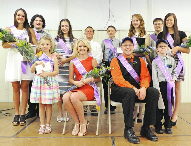 Anthony Weber | Troy Daily News The Miami County Fair Royalty was announced during the 2015 Miami County Fair Jr. Fair King and Queen, Prince and Princess Contest Saturday at the Duke Lundgard Youth Building Miami County Fairgrounds. The royalty includes front row from left: Miami County Fair Princess Isabel Eichhorn, Miami County Fair Queen Brianna Ellish, Miami County Fair King Brandon Newton and Miami County Fair Prince Drake Burkett. Queen contestants second row from left: first runner-up Katie Bendickson, second runner-up Caitlyn Cusick, third runner-up Kristina Romie and fourth runner-up Madeline Brown. King contestants back row from left: first runner-up Jason Shiltz, second runner-up Garrett Warner, third runner-up Thomas Burkett and fourth runner-up Kyle Persinger.