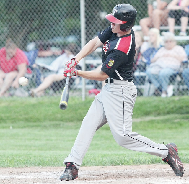Luke Gronneberg | Civitas Media Troy Post 43's Adam Gunston takes a cut against Sidney Post 217 Thursday at Hardman Field in Piqua.
