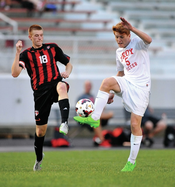 Photo courtesy Lee Woolery/Speedshot Photo Troy's Mack Sherman had a goal in the Trojans' 3-0 victory over Tecumseh Saturday night at Troy Memorial Stadium.