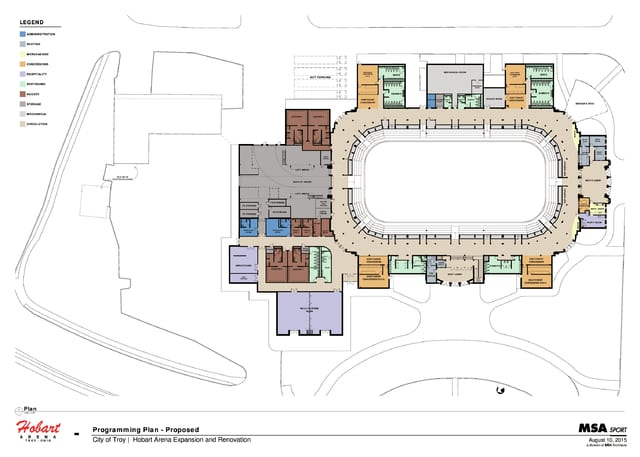 Hobart Arena's planned expansion and remodeling plans were unveiled to the city's board of recreation on Monday.