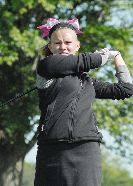 Anthony Weber/Troy Daily News Troy's Hannah Wright follows through on a swing during the Covington Pink Out tournament Wednesday at Echo Hills.