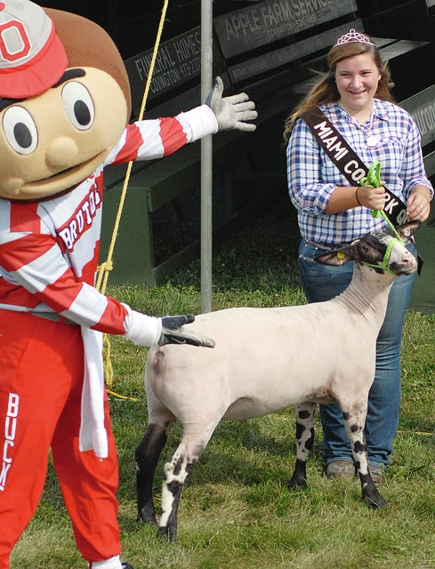Anthony Weber | Troy Daily News Miami County Pork Queen Danielle Danielson meets Brutus Buckeye during a bus tour stop Friday at the 2015 Miami County Fair.