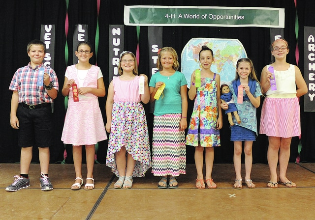 Anthony Weber | Troy Daily News Miami County 4-H Clothing Revue Junior Division: first place in modeling Gabriel Cusick, second place in modeling Allison Poore, third place in modeling Darby Welbaum, fourth place in modeling Madison Maxson, fifth place in modeling Emma Sutherly sixth place in modeling Johanna Welborn and an honorable mention went to Sophie Pickrel Sunday inside the Duke Lundgard building at the Miami County Fair.