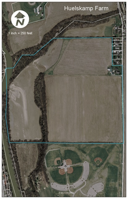 Map of the 117-acre Huelskamp Farm which council will consider for purchase for $1.5 million on Monday.