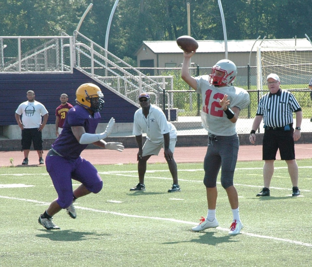 David Fong | Troy Daily News Troy quarterback Hayden Kotwica delivers a pass in Saturday's scrimmage against Reynoldsburg.