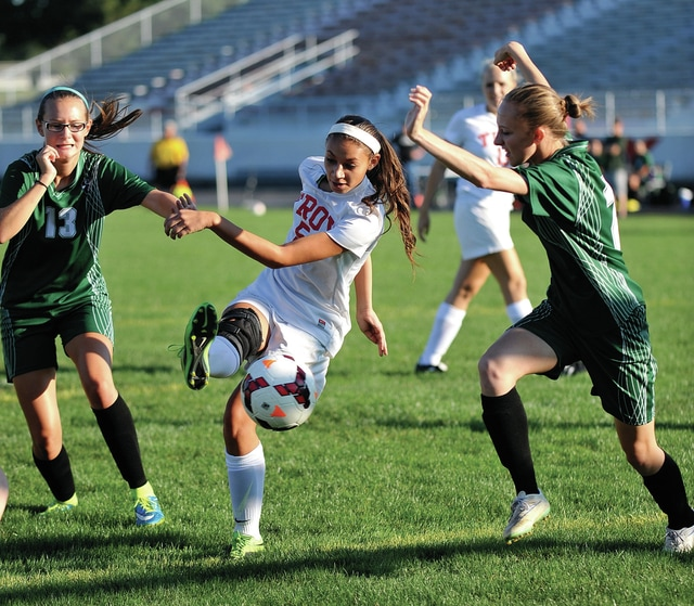 Photo courtesy Lee Woolery/Speedshot Photo Troy's Kailyn Hatfield scores the first goal of Wednesday's 7-0 Trojan victory over Greenville at Troy Memorial Stadium.