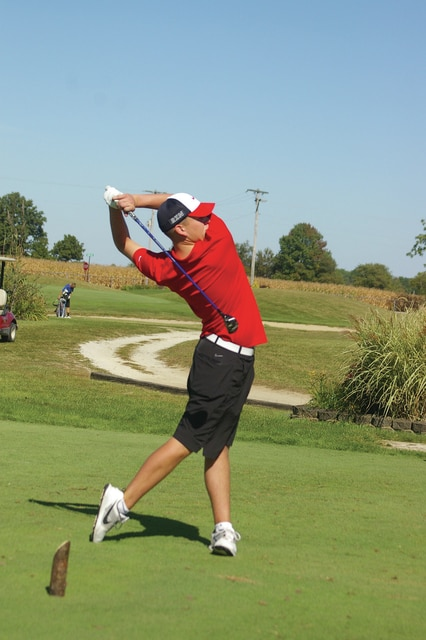Kyle Shaner/Civitas Media Troy's Troy Moore shot a 78 Thursday at the postseason Greater Western Ohio Conference Tournament at Beechwood Golf Course in Arcanum.