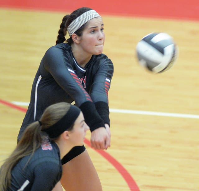Mike Ullery/Civitas Media Troy senior Lauren Freed passes the ball Tuesday during a Senior Night match against Piqua at the Trojan Activities Center.