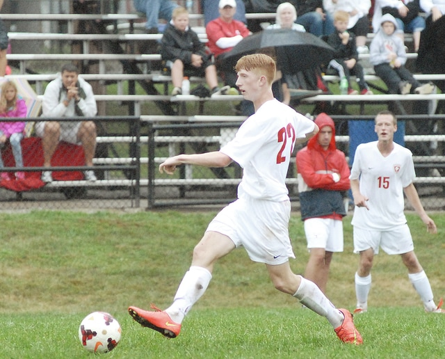 Anthony Weber/Troy Daily News Tippecanoe's Austin Hass, seens here bringing the ball up the field, had the only goal in Saturday's 1-0 Red Devil victory over Indian Hill at Tipp City Park.