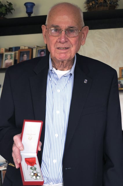 Cecilia Fox | Weekly Record Herald Jesse Chamberlain displays the Legion of Honor medal given to him by the French government for his service in France during WWII. This is the most prestigious award given by the French government and it cannot be awarded posthumously.