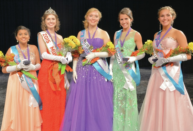 Provided photo Tippecanoe High School student Lydia Etchison was crowned the 2015 Mum Festival Queen was crowned last Saturday. She will be joined by (pictured left to right) Miss Congeniality Maya Vyas (Tippecanoe), Queen and Talent Winner Lydia Etchison (Tippecanoe), 1st Attendant Erin Gaerke (Russia), 2nd Attendant Rachel Leiter, (Northmont) and 3rd Attendant Dominique Rohde (Vandalia).